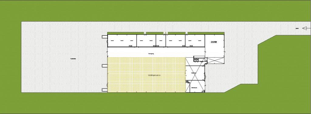 Plattegrond Stal 268, het gearceerde deel is bestemd voor stalling
