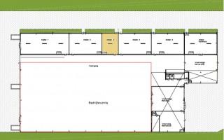 Plattegrond STAL268, atelier 3 geel gearceerd